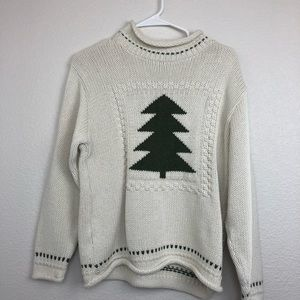 Vintage cotton country Christmas tree knit sweater